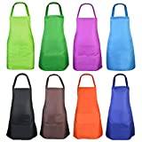 KKTOP 8 Pcs Bib Apron for Unisex Colorful Kitchen Apron Bulk with 2 Roomy Pockets for Kitchen BBQ Painting Baking