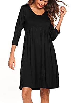 Naggoo Women 3/4 Sleeve Scoop Neck High Waist Pleated Loose Swing Tunic Dresses with Pockets