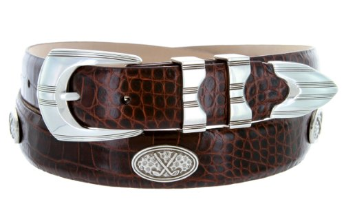 - Silverwood - Men's Italian Calfskin Designer Dress Belt with Golf Conchos (36 Alligator Brown)
