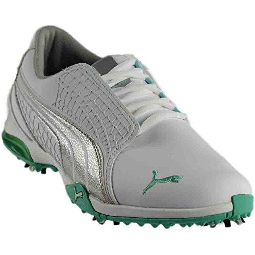 PUMA Women's Biofusion Golf Shoe,White/Silver Metallic/Aqua Splash,7.5 M US