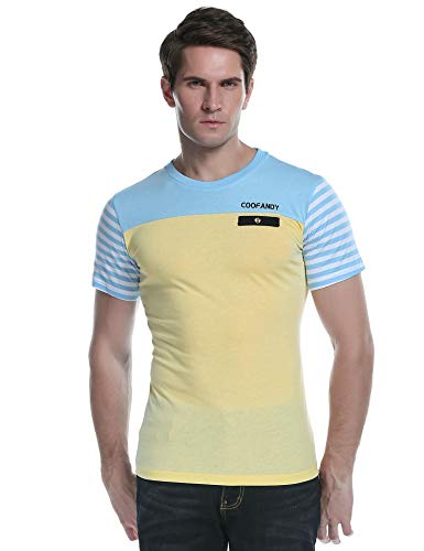 COOFANDY Mens Short Sleeve Polo Shirts Slim Fit Casual Contrast Striped Sports Golf Polo T Shirt