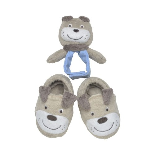 Boys Puppy Bootie (Carter's Boys 3 Piece Puppy Booties and Wrist Rattle Set (0-6 Months))
