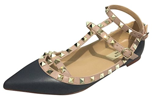 Kaitlyn Pan Pointed Toe Studded Strappy Caged Ballerina Leather Flats