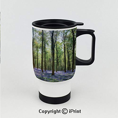Stainless Steel Insulated Vacuum Travel Car Cup for Best Gift,Bluebells in Wepham Woods Landscape Flowers Rural Countryside Woodland,Stainless Steel 15 OZ Travel Car Cup ()