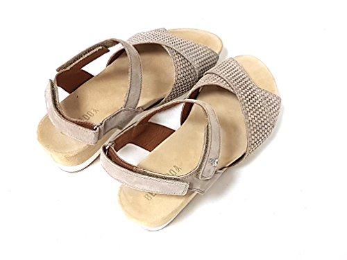 Benvado OLGA 37006002 sand beige wedge sandals for women, leather tears 37.5