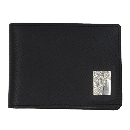 Versace Collection Medusa Mens Small Black Leather Bi-Fold Wallet
