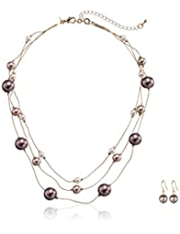 Colored Simulated Pearl Illusion Chain Earrings and Necklace Set, 16+2""