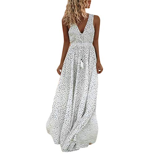 Thenxin Summer Sleeveless Dot Print Maxi Dress for Women Tassels Deep V Neck Long Beach Dress (White,S)
