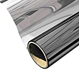 Heat Blocking Window Film, One Way Mirror Window Film Static Cling Glass Tint for Home and Office Daytime Privacy, Heat Control, UV Rejection and Glare Reduction (Black-Silver, 17.7x78.7 Inches)