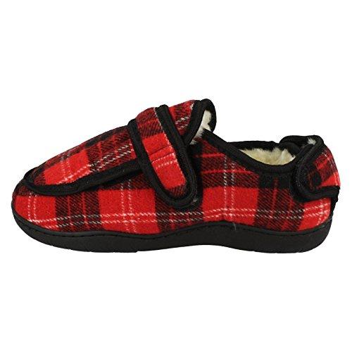 Spot On ,  Damen Durchgängies Plateau Sandalen mit Keilabsatz Rotes Tartan-Muster