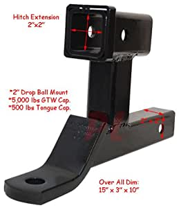 """Amazon.com: DUAL Ball Mount 2"""" Hitch Receiver Extension"""