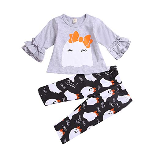 Baby Halloween Costume, Baby Girl Halloween Outfit for Toddler Infant Tops Pants 2Pcs Set (Gray & Black, 6-12Months) -