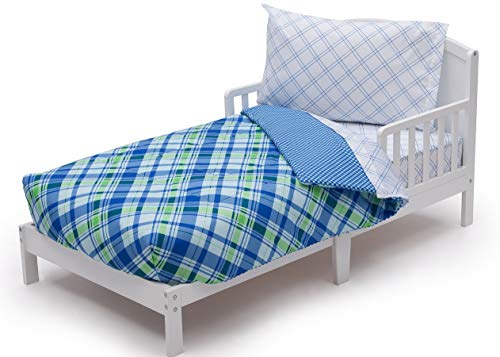 Boys 4 Piece Collection | Fitted Sheet, Flat Top Sheet w/Elastic Bottom, Fitted Comforter w/Elastic Bottom, Pillowcase | | Boys Plaid and Gingham | Blue Green | Style 503196130 ()
