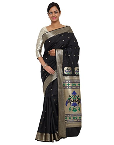 Varkala Silk Sarees Women's Art Silk Paithani Saree With Blouse Piece_(NYJB5005BL_Black) by Varkala Silk Sarees