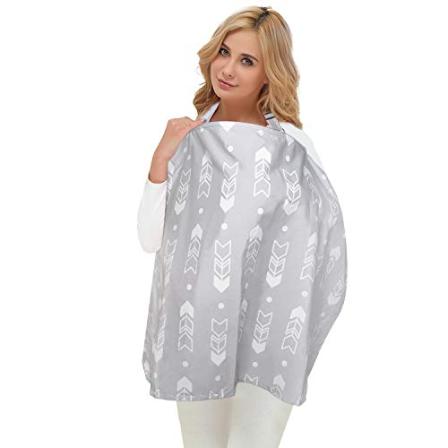 Metene Nursing Cover for Breastfeeding Infants, Breastfeeding Scarf with Sewn in Burp Cloth,Multi Use for Baby Car Seat,Covers Light Blanket Stroller Cover