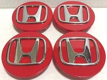 4 unidades, tapa central de rueda, logotipo rojo cromado Honda, 69 mm / 2,75 pulgadas -H4 - Accord Civic: Amazon.es: Bricolaje y herramientas