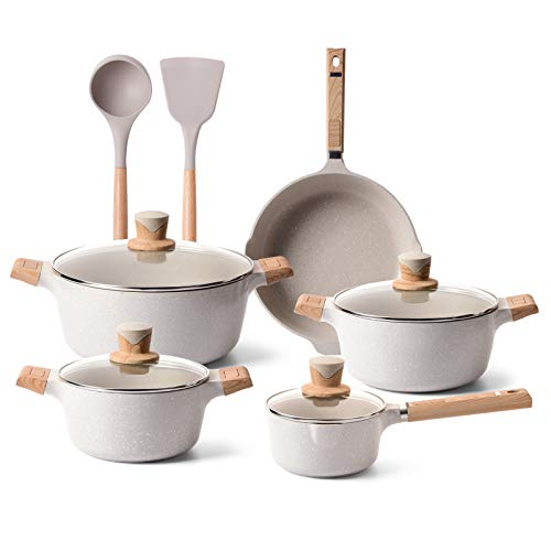 YIIFEEO 11 Pieces Cookware Set, Nonstick Pans and Pots Sets, Stone Non Stick Frying Pans and Saucepan Sets with Cooking…