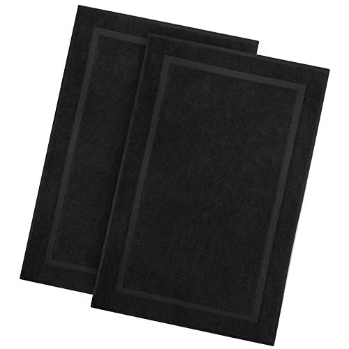 Cotton Craft - 2 Pack Luxury Bath Mat - Black - 100% Ringspun Cotton - Oversized 21x34 - Heavy Weight 1000 Grams - 2 Ply Construction - Highly Absorbent - Soft Underfoot Easy Care Machine Wash