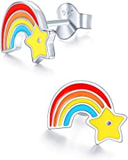 GEMSUGR Hypoallergenic Kids Stud Earrings 925 Sterling Silver Gifts for Little Girls (Nickel Free)