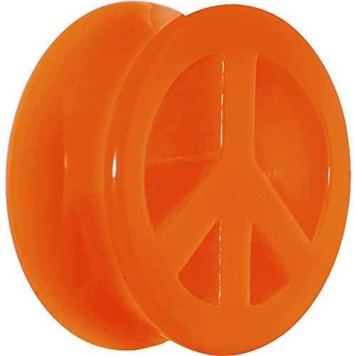 (Body Candy 20mm Acrylic Neon Orange Peace Sign Tunnel Ear Gauge Plug (1 Piece))