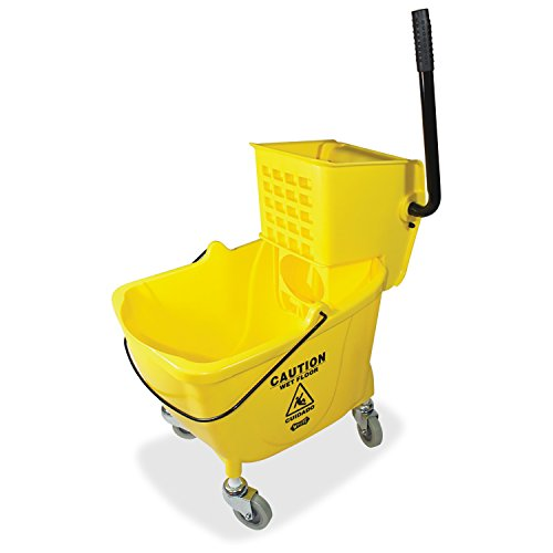 Genuine Joe GJO02347 Side Press Wringer Mop Bucket, Yellow - Side Squeeze Wringer