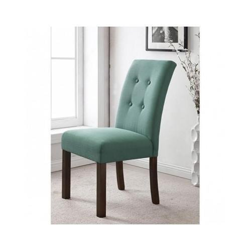Modern Aqua Button Tufted Dining Room Chair Fabric Solid Wood Legs (Set of 2) Includes Cross Scented Tart For Sale