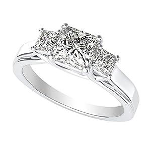 1.5 Carat 14K White Gold Princess Cut 3 Three Stone Diamond Engagement Ring (D E Color VS1 VS2 Clarity)