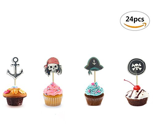 Bakery Craft Pirate Hat,Party//Cupcake Rings,12 ct Plastic Black,Decoration