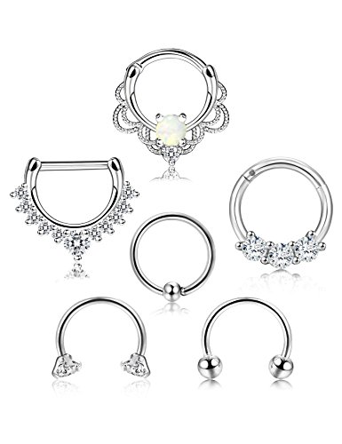 ORAZIO 6PCS 16G 316L Stainless Steel Septum Hoop Nose Ring 10MM Horseshoe Rings Cartilage Clicker Piercing Jewelry 3 Colors (D:6Pcs Sliver Tone 10MM) by ORAZIO