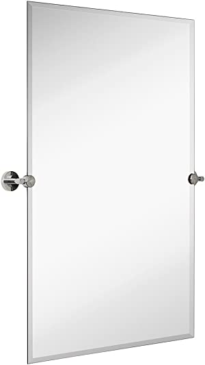 Hamilton Hills Large Pivot Rectangle Mirror with Polished Chrome Wall Anchors | Silver Backed Adjustable Moving & Tilting Wall Mirror |  24