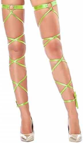 c607c9892 Women Sexy Leg Wraps for Rave Dancing Party Shiny Metallic Leg Wrap with  O-ring