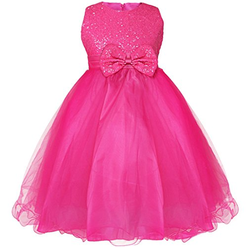 YiZYiF Little Girls' Sequined Wedding Party Princess Tulle Dress Rose 4