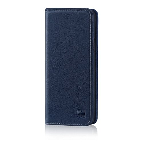 32nd Classic Series – Real Leather Book Wallet Case Cover For Samsung Galaxy S9, Real Leather Design With Card Slot, Magnetic Closure and Built In Stand – Navy Blue