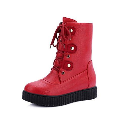 BalaMasa Girls Bandage Platform Non-Slipping Sole Imitated Leather Boots Red 4zVYBmLVaK