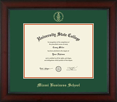 - University of Miami Miami Business School - Officially Licensed - Gold Embossed Diploma Frame - Diploma Size 11