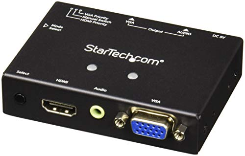 StarTech.com 2x1 VGA + HDMI to VGA Converter Switch w/ Priority Switching - Multi-format VGA and HDMI to VGA Selector - 1080p