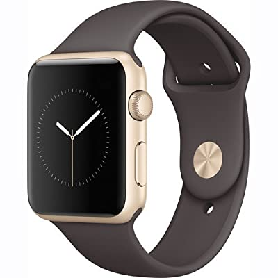Apple Watch Series 1 Smartwatch 42mm Gold Aluminum Case, Cocoa Sport Band (Newest Model) (Certified Refurbished)