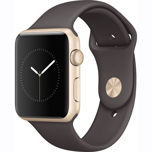 Apple Watch Series 1 Smartwatch 42mm Gold Aluminum Case, Cocoa Sport Band (Newest Model) (Refurbished)