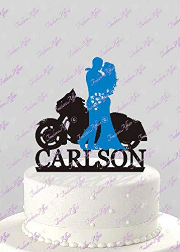 Harley Davidson Motorcycle Silhouette Bride and Groom Wedding Cake Topper with Last Name, Acrylic Cake Topper [CT125wg] ()