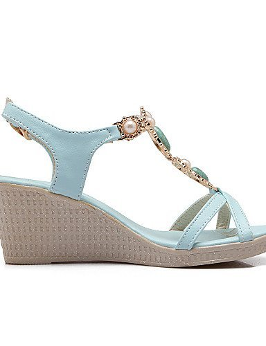 43f3eba17380 ... ShangYi Women s Shoes Wedge Heel Pointed Toe Sandals Dress Blue White  White DFCbFB ...