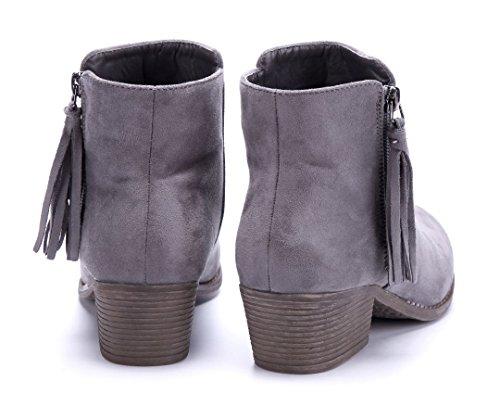 Blockabsatz Stiefel Schuhtempel24 Grau Stiefeletten cm 5 Boots Damen Klassische Schuhe xTTqw7ZU
