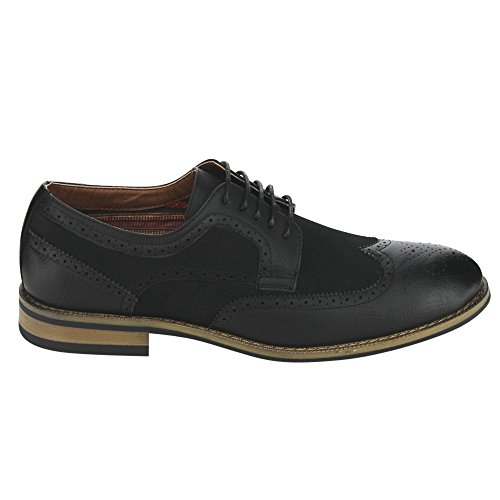Ferro Aldo Ac97 Hommes Lace Up Perforé Brogue Wingtip Robe Oxfords Noir