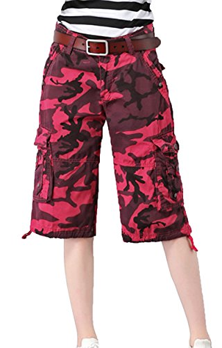 Hiwil Women's Casual Loose Fit Multi-Pockets Camouflage Twill Bermuda Wide Leg Cargo Shorts Red Camouflage US 14 / Tag Size 34