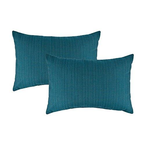 Austin Horn Classics Sunbrella Dupione Deep Sea Boudoir Outdoor Throw Pillows (set of 2) ()