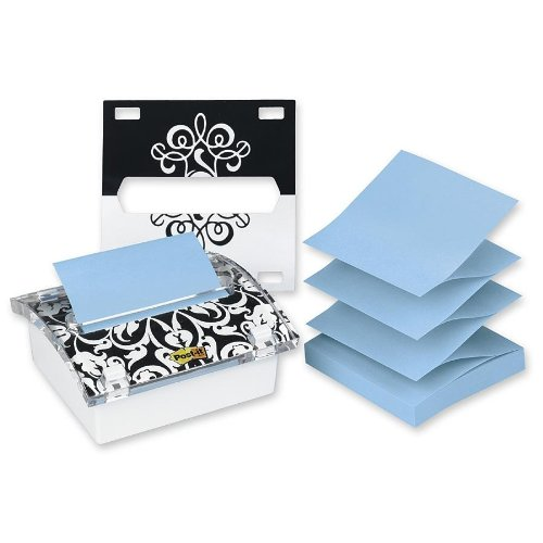 Post-it Pop-up Notes Dispenser for 3 x 3-Inch Notes, Includes Black and White Brocade Insert
