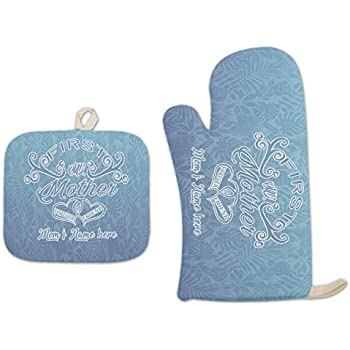 Bleu Reign BRGiftShop Personalized Custom Name First My Mother Forever My Friend Linen Oven Mitt and Potholder Set