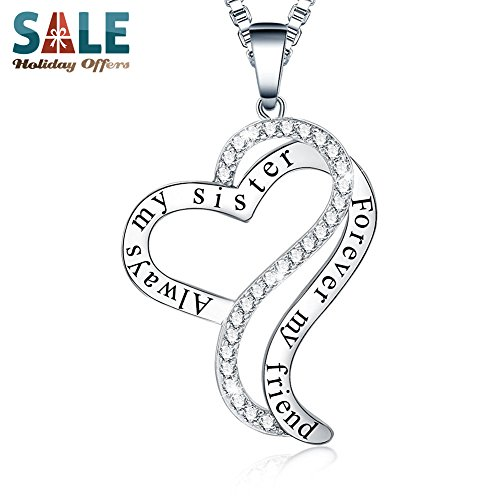 ❄Christmas Gifts❄ Ado Glo Always My Sister Forever My Friend Bro Sis Heart Pendant Fashion Jewelry Necklace - Birthday New Years Xmas Present for Women - 12 Days of Deals