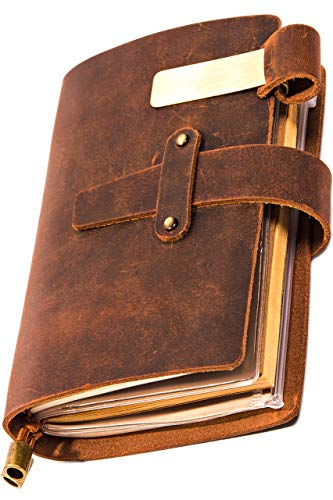Genuine Leather Notebook - Notepad For Men & Women, Leather Travel Journal Scrapbook with Pen Holder, Card Slots and Zippered Pouch, Handmade Notebook