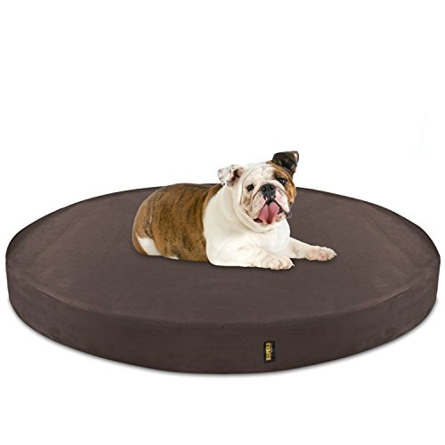 KOPEKS Deluxe Orthopedic Memory Foam Round Dog Bed - Large - Brown - Memory Foam Round Dog Bed