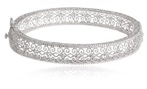Sterling Silver Diamond Accent Filigree Bangle Bracelet, 7.25'' by Richline Group